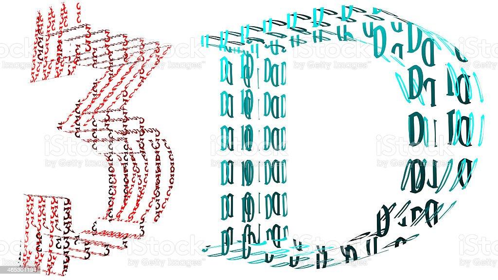 3 D Transparente Rekursive Buchstaben In Rot Anaglyph Farben Cyan ...