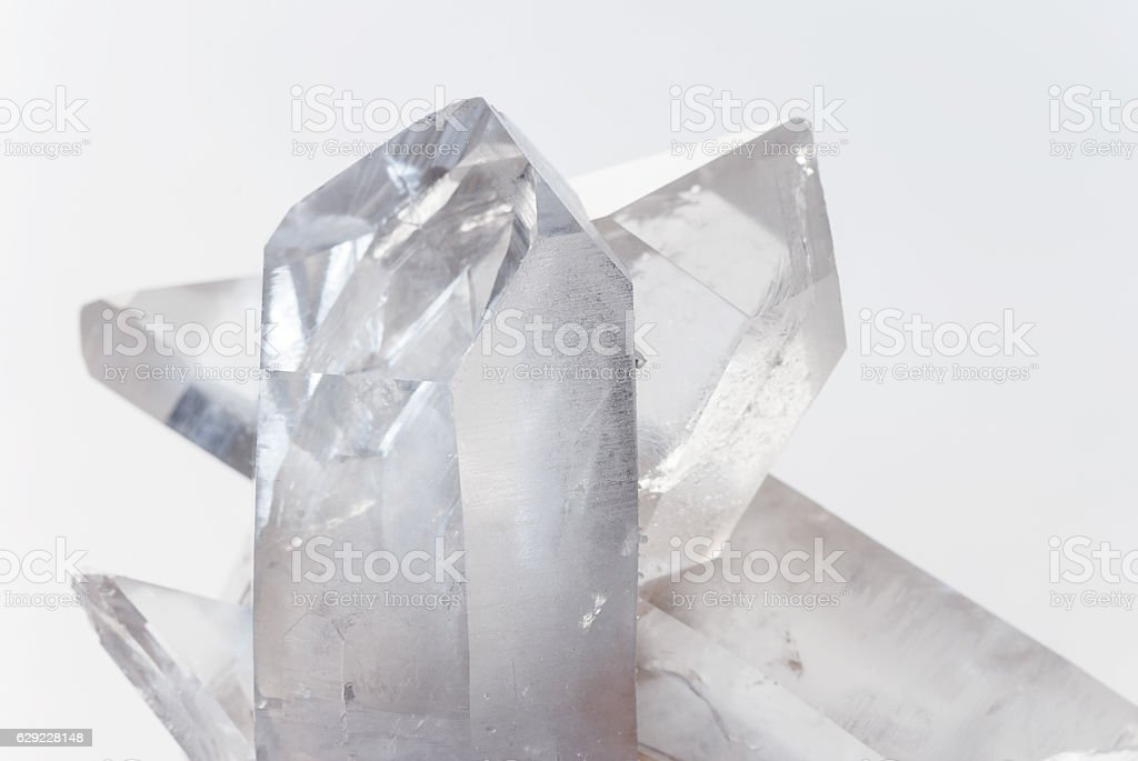 Transparent rock crystals on white stock photo