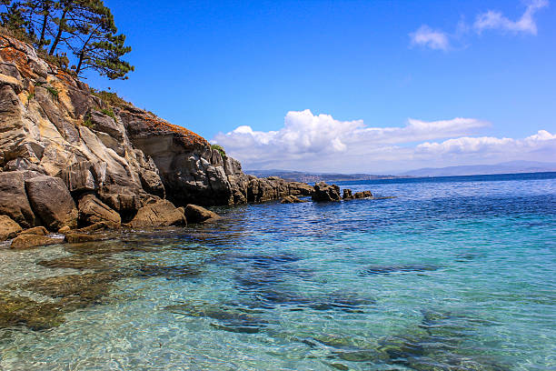 Transparent sea water and rocks in Cies Island, Galicia, Spain. stock photo