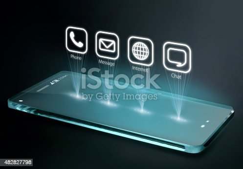 171347585 istock photo Transparent smartphone with apps on three dimensional screen 482827798