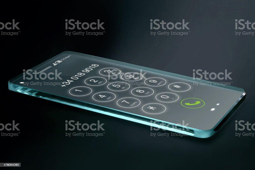 Smartphone Con Numero Di Telefono Trasparente Su Sfondo Scuro