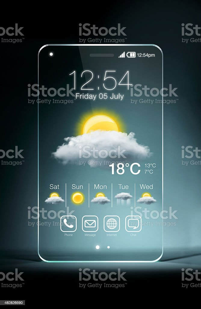 Transparent smartphone with weather icon on blue background stock photo