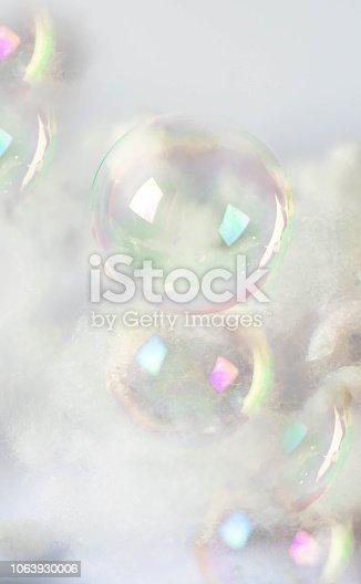 585059140 istock photo Transparent soap bubbles. Realistic soap bubbles. Rainbow reflection soap bubbles 1063930006