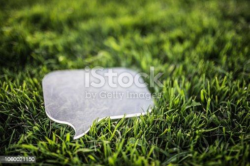 istock Transparent speech bubble on grass 1060021150