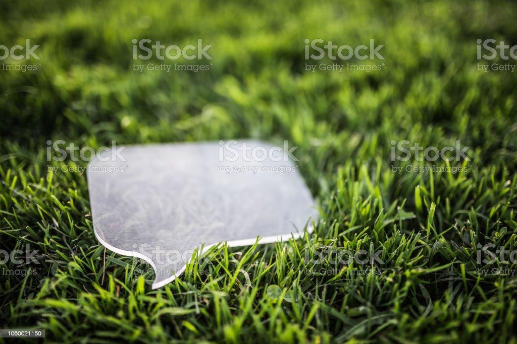 Transparente Sprechblase auf Rasen – Foto