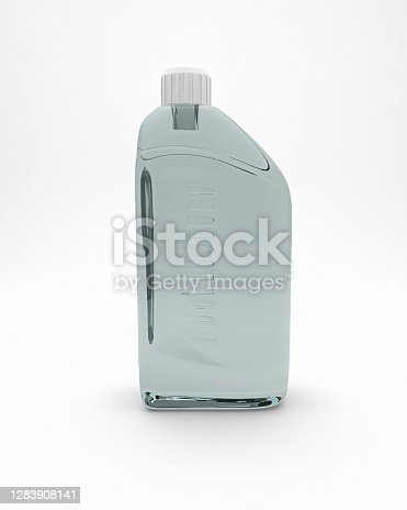 Transparent tinted plastic bottle isolated on white