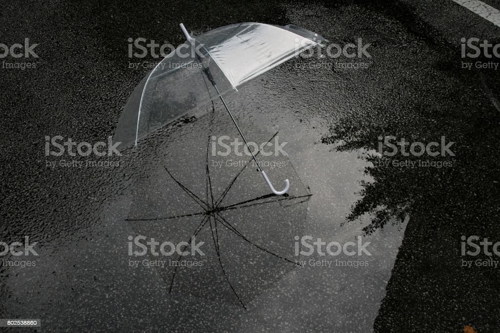 Transparent umbrella in rainy day stock photo