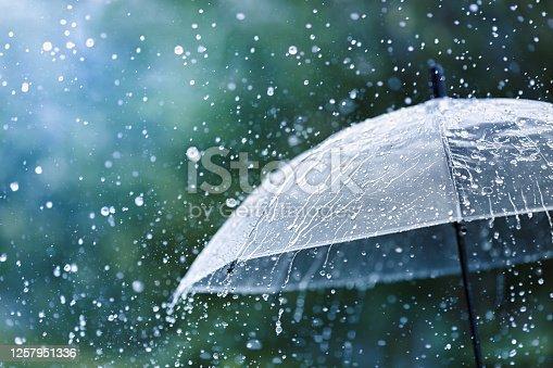 Transparent umbrella under heavy rain against water drops splash background. Rainy weather concept.