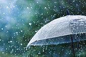 istock Transparent umbrella under rain against water drops splash background. Rainy weather concept. 1257951336