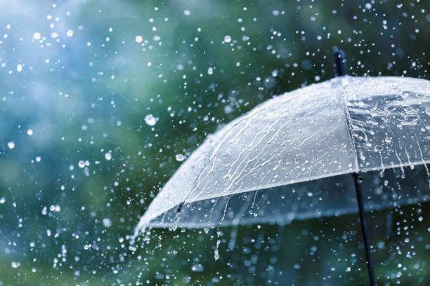 transparante paraplu onder regen tegen de achtergrond van de spatten van de waterdalingen. regenachtig weerconcept. - regen stockfoto's en -beelden