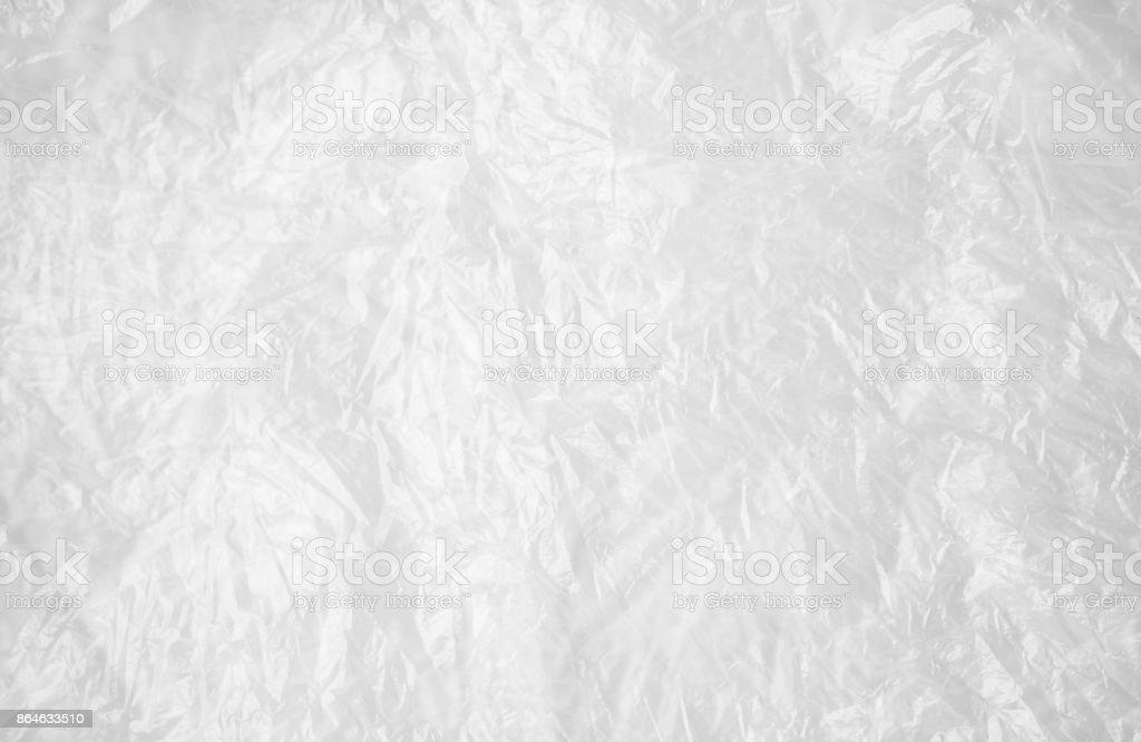 Transparent white cellophane or plastic, background stock photo