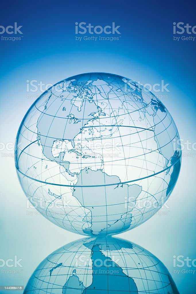 Transparent world globe with reflection at the bottom stock photo