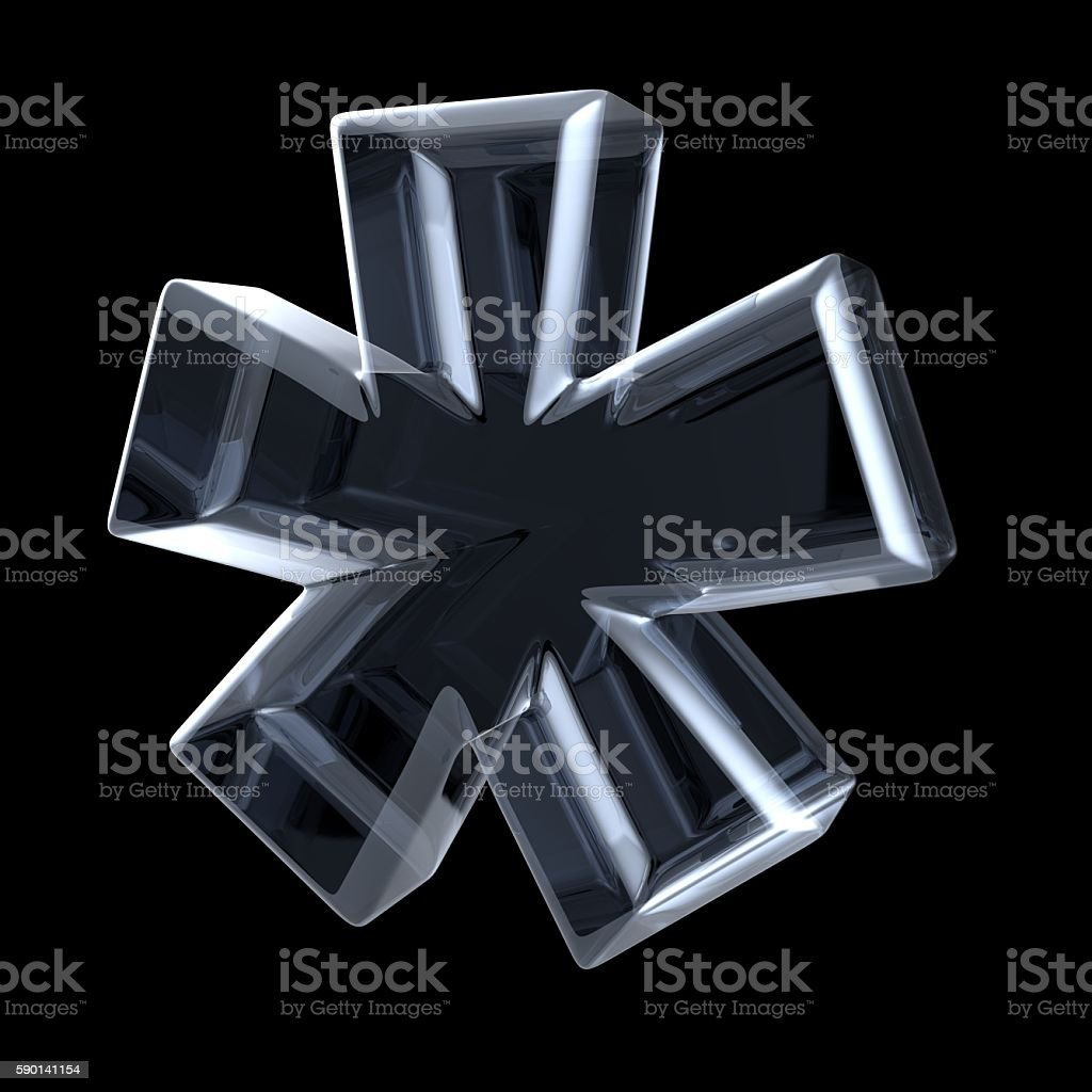 Transparent x-ray asterisk symbol. 3D - foto stock