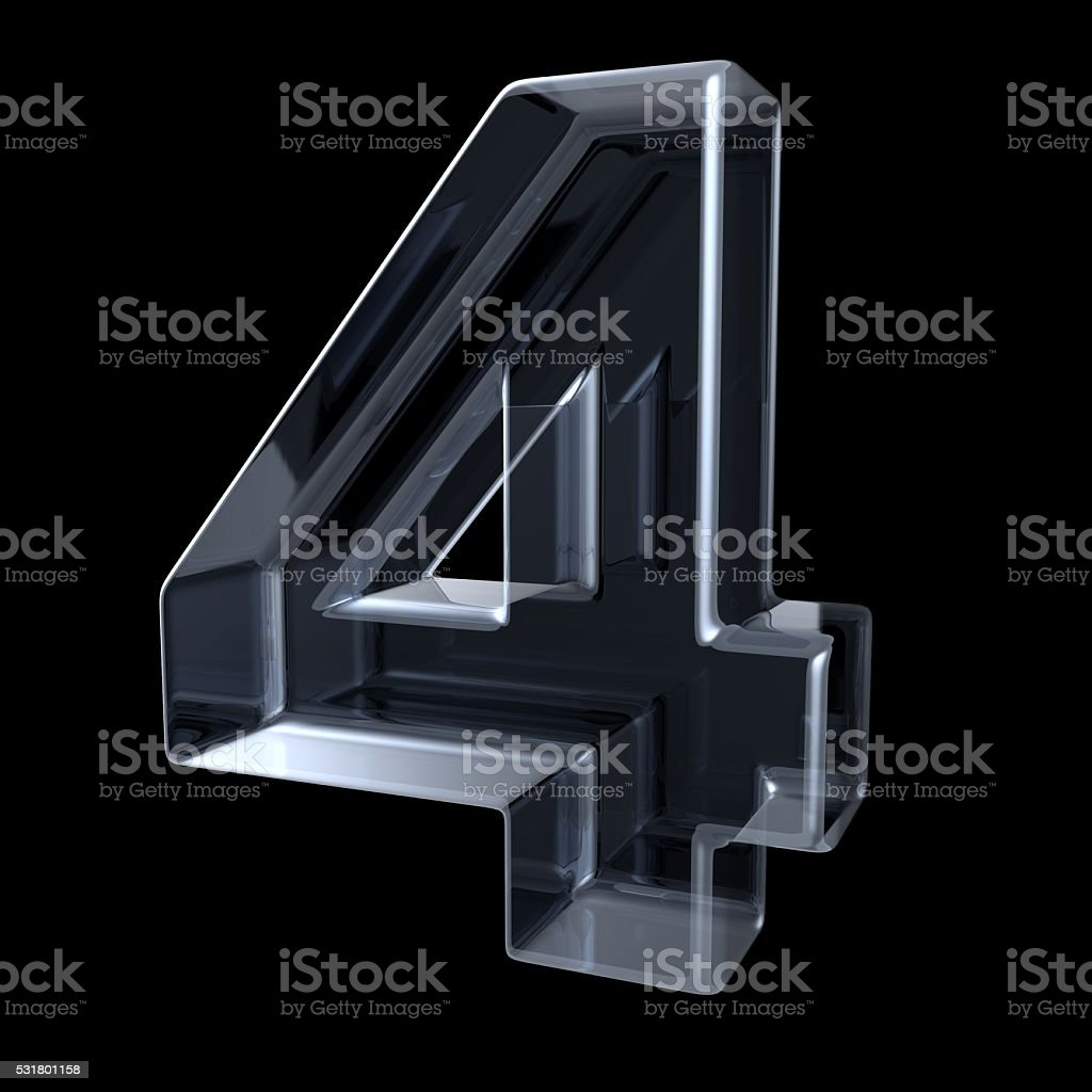 Transparent x-ray number 4 FOUR. 3D stock photo