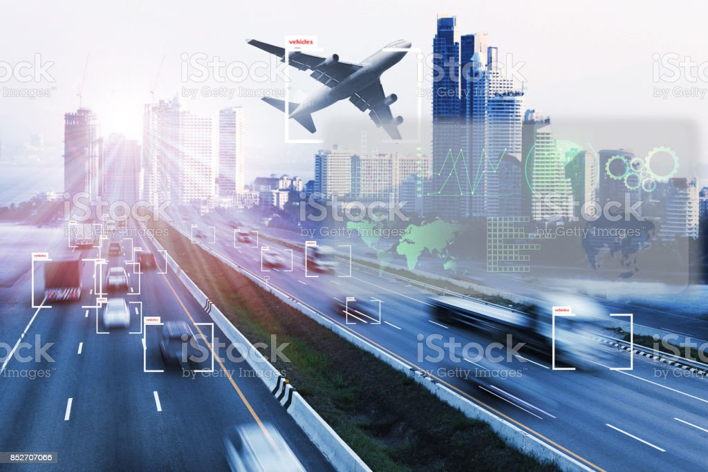 transport and Artificial intelligence concept. stock photo