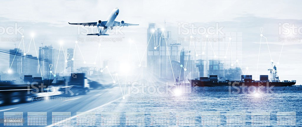 container truck ,ship in port and freight cargo plane in transport...