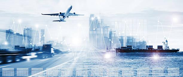 Transporte y logística comercial de importación y exportación, envío de negocios e Industria - foto de stock