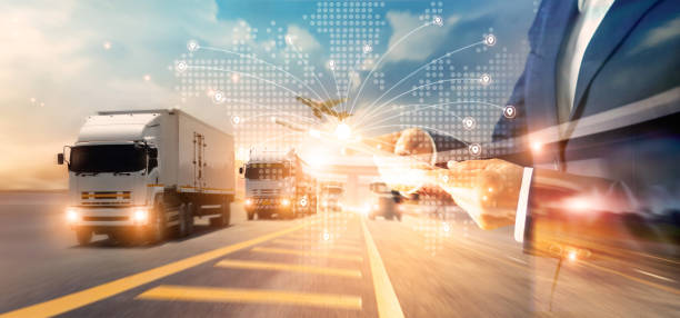 Transport and logistic concept, Freight shipping online, Businessman using tablet and data for global logistic network distribution on world map background, Business and technology. stock photo