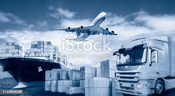 istock Transport by truck, plane and ship 1144546289