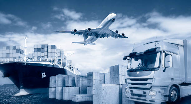 Transport by truck, plane and ship stock photo
