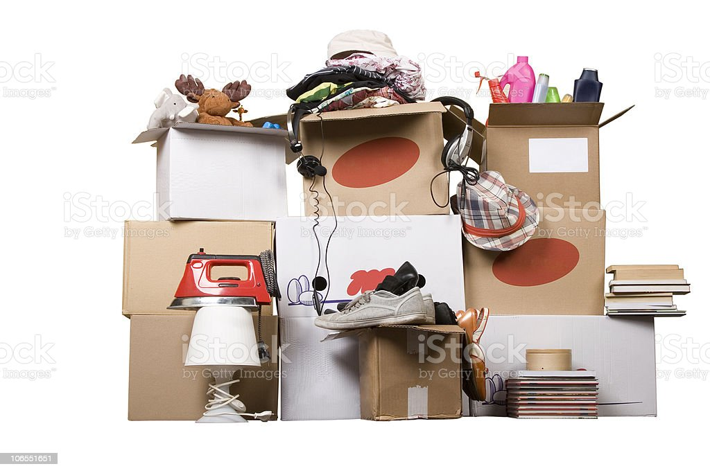 transport cardboard boxes, relocation concept stock photo
