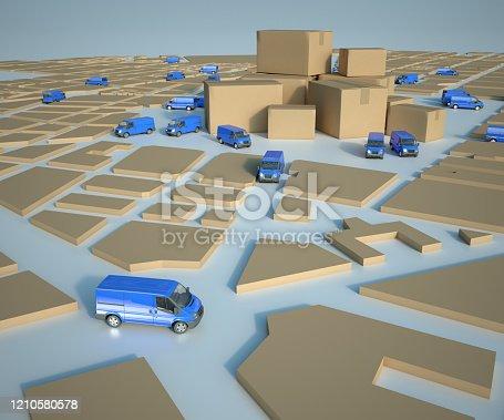 istock Transport distribution logistics blue 1210580578