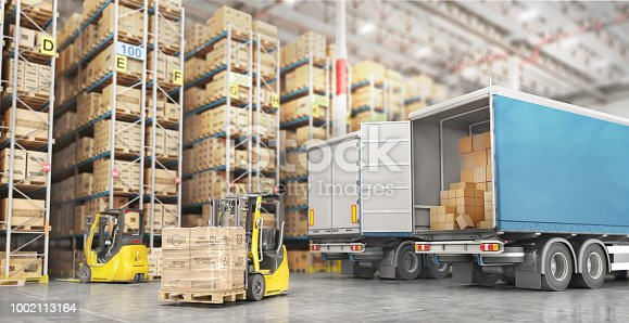 istock Transport for delivery on a warehouse background. 3d illustration 1002113164