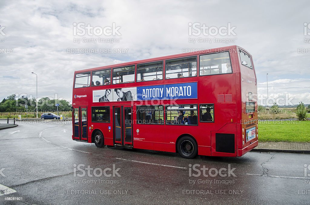 Transport for London; trademark red bus stock photo