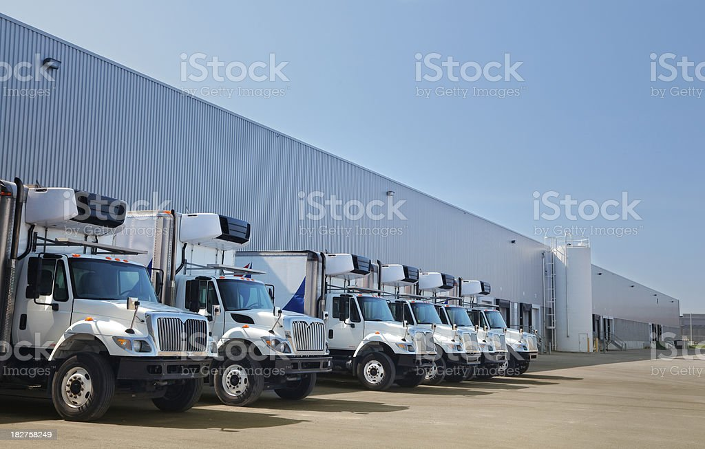 Transport Industry Building and Trucks stock photo