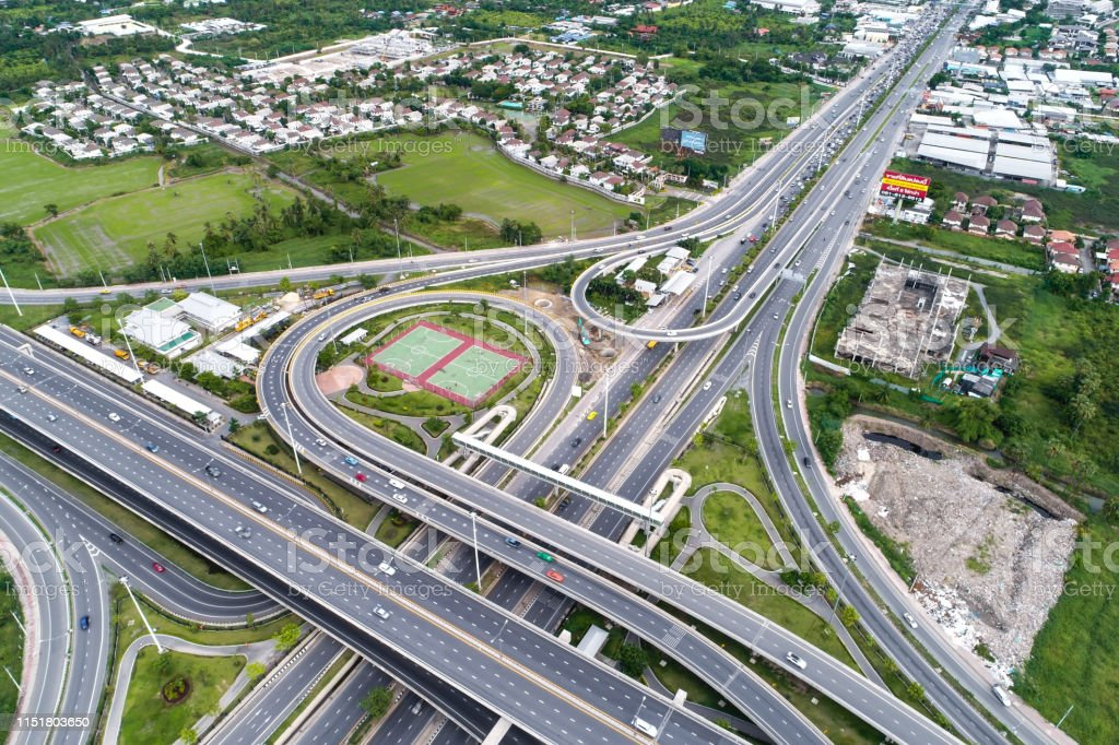 Transport junction traffic green city road aerial view modern road