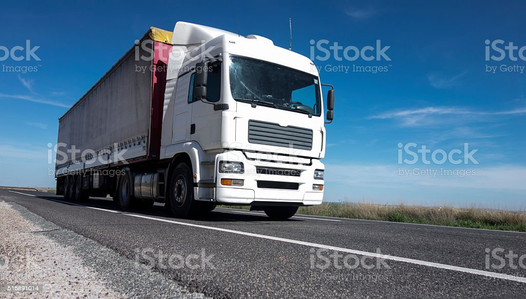 Transport of goods by road stock photo
