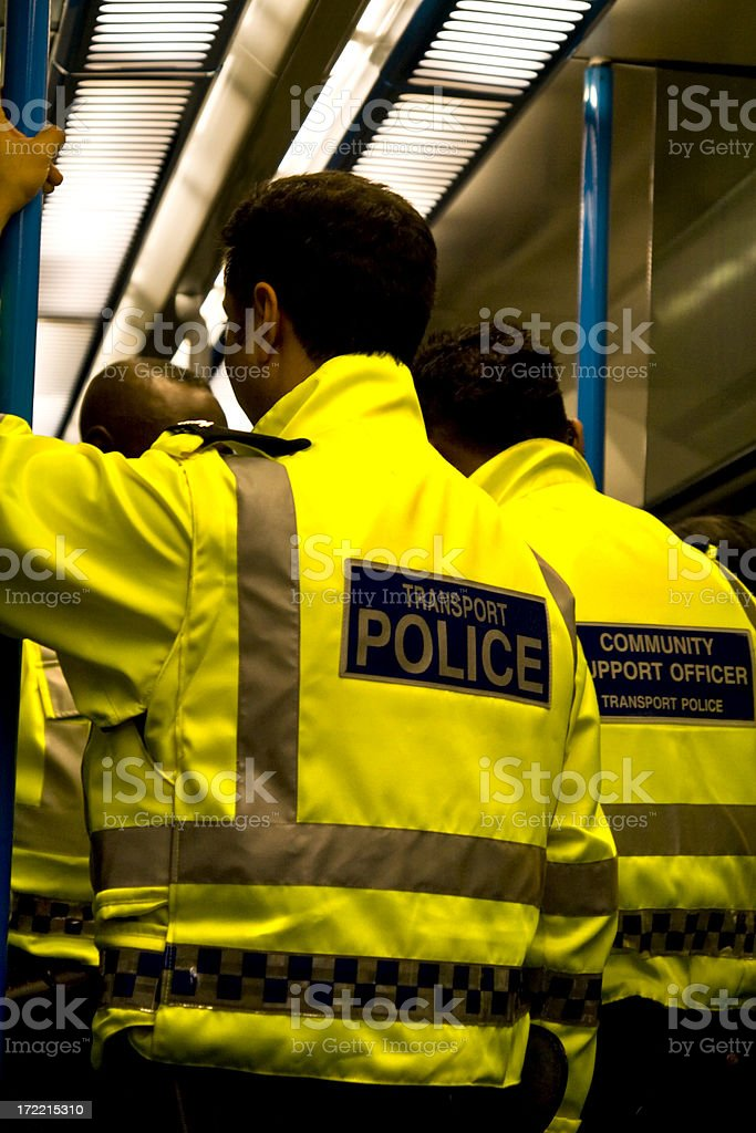 Transport police on a railway train stock photo