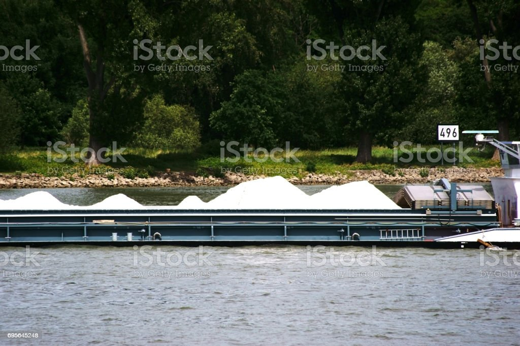 Transport ship with gravel stock photo