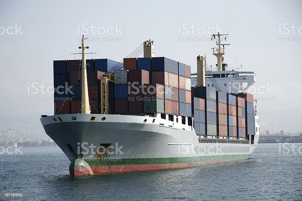 transport ship with some containers royalty-free stock photo