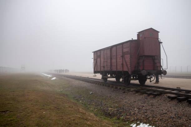 Transport Train to Auschwitz II Birkenau Concetration Camp. Railway wagon to transport people to the death camp. German Concentration Camp in Oswiecim, Poland. – zdjęcie