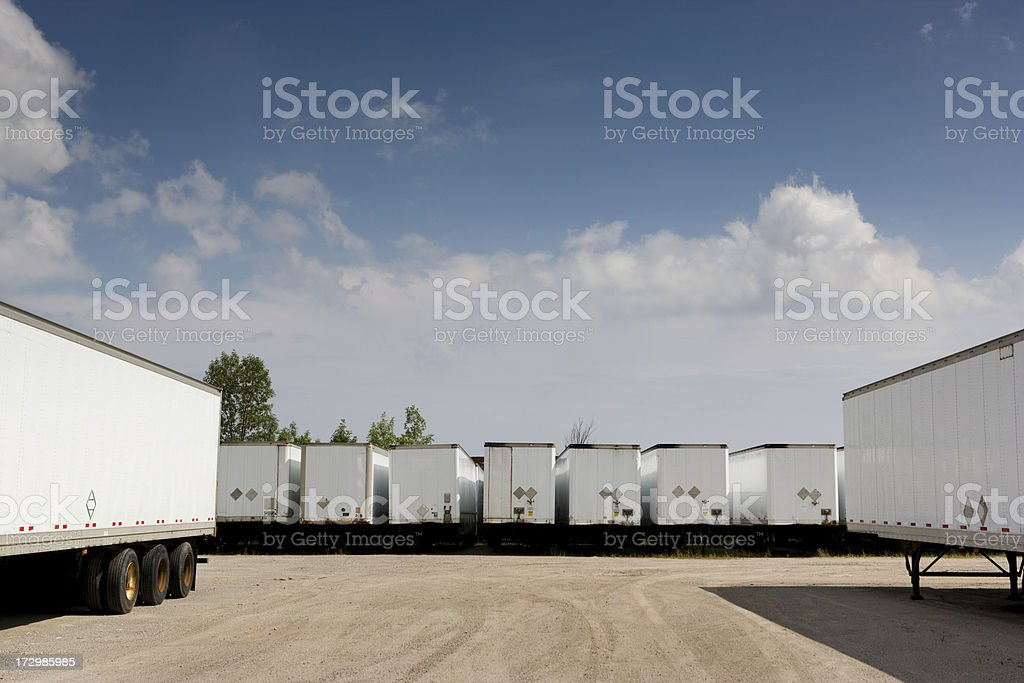 Transport trucks ready to deliver freight royalty-free stock photo