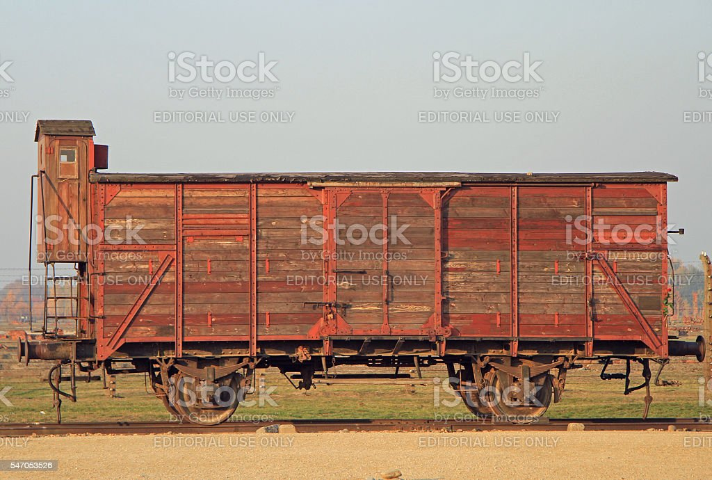 Transport wagon used for deportation to concentration camp stock photo
