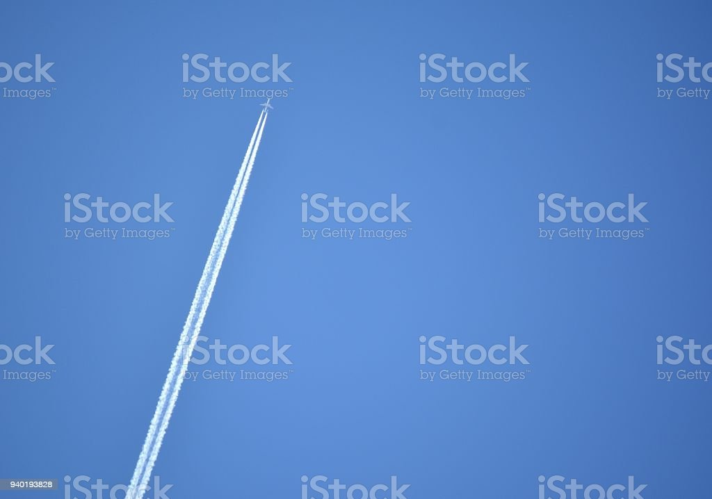 Transportation, Airliner and Con Trail. stock photo
