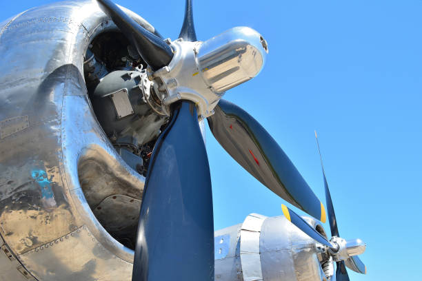 """Transportation, """" American WW2 Bomber """" Transportation...This shot shows 2 of 4 engines, on a vintage American bomber from the 2nd World War. bomber plane stock pictures, royalty-free photos & images"""