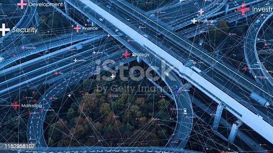 istock Transportation and communication network concept. ITS (Intelligent Transport Systems). 1152958107