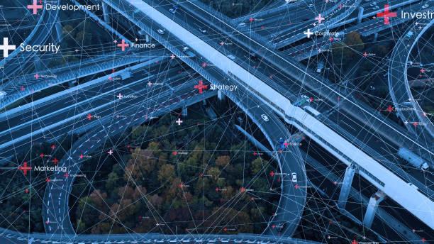 Transport-och kommunikations nät koncept. ITS (intelligenta transport system). bildbanksfoto