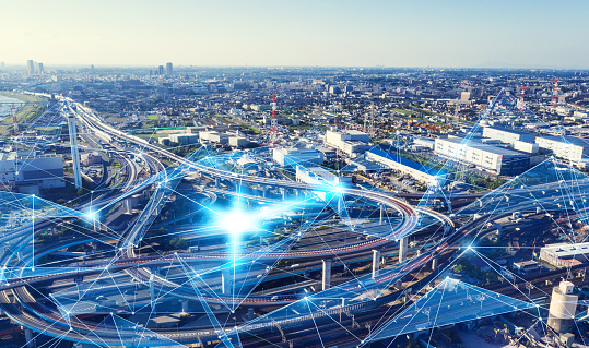 613881746 istock photo Transportation and communication network concept. 1161358490