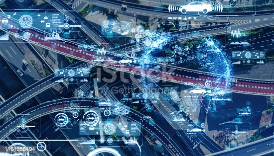 istock Transportation and communication network concept. 1161358494