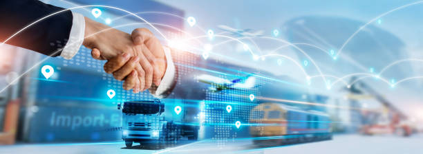 Transportation and logistics concept, Import and export business, Businessman handshake of global network connection and logistics partnership, Distribution, Shipping, Online goods orders. stock photo