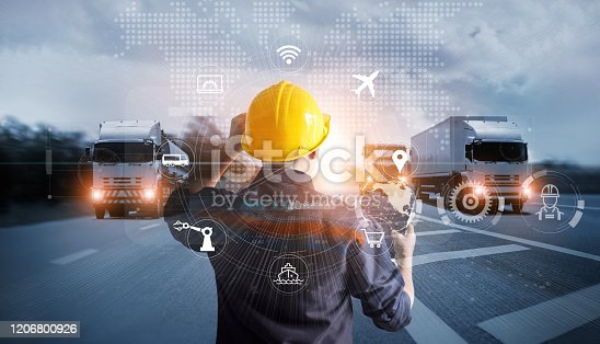 638310484 istock photo Transportation and Logistics, Manager technical working with truck on motorway and industrial container cargo with icon of network distribution on global network connection. 1206800926