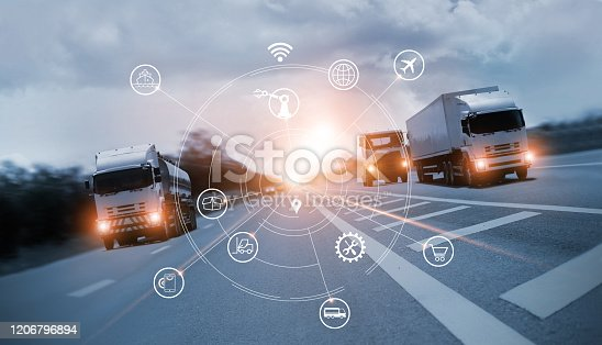 Transportation and Logistics, Truck on motorway and industrial container cargo with icon of network distribution on blue background.