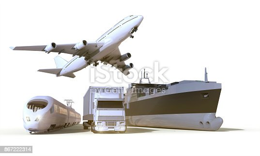 istock transportation and Logistics truck,train, Boat and plane on isolate Background 867222314