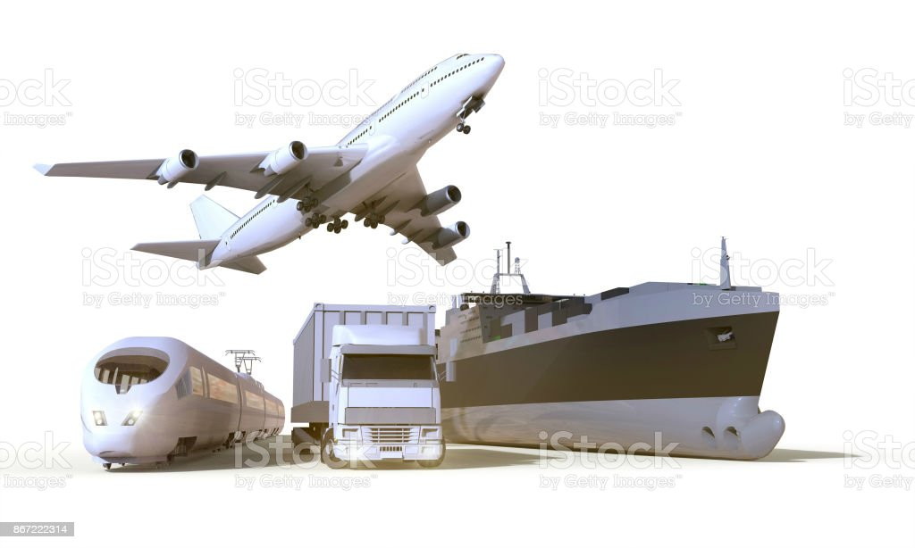 transportation and Logistics truck,train, Boat and plane on isolate Background stock photo