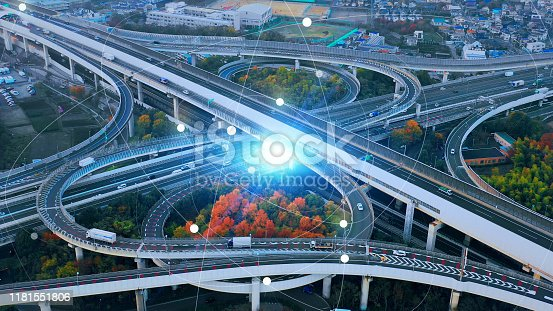1140961203 istock photo Transportation and technology concept. IoT (Internet of Things). Communication network. 5G. 1181551806