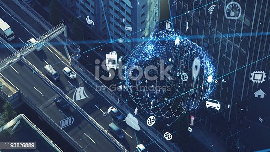 904420364istockphoto Transportation and technology concept. IoT (Internet of Things). Communication network. 1193826889